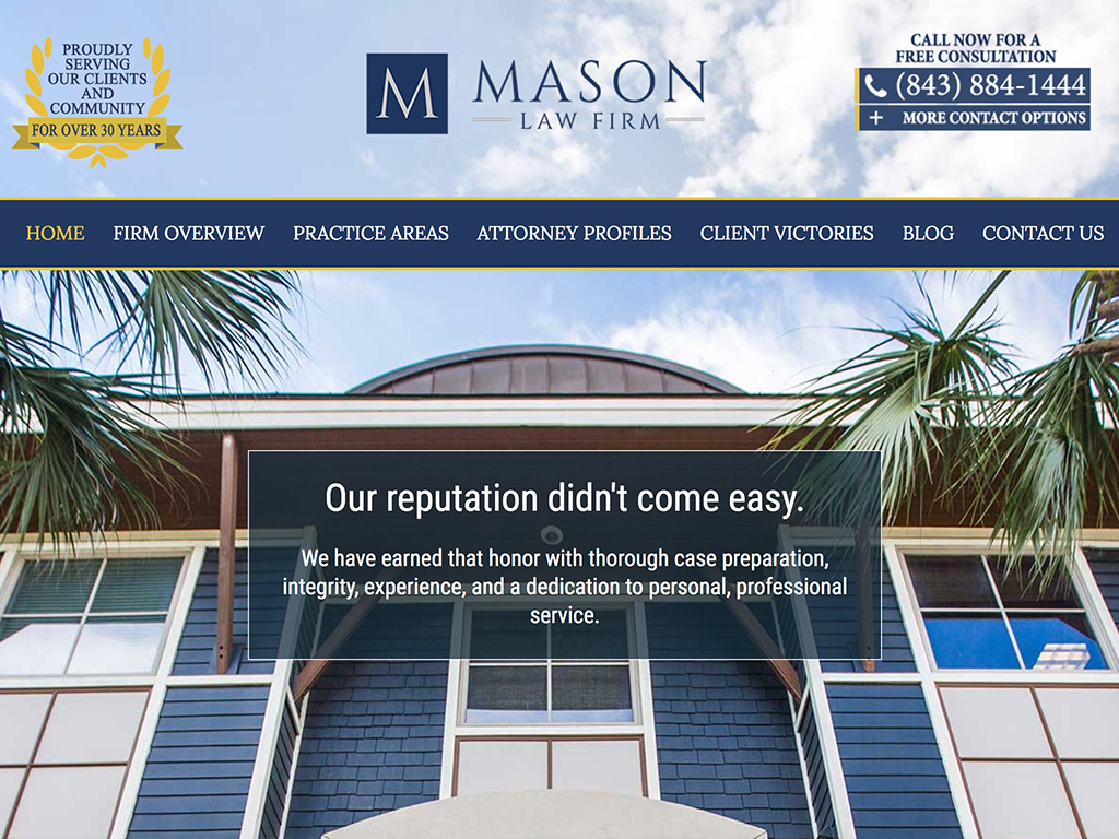 Mason Law Firm Charleston SC Web Development